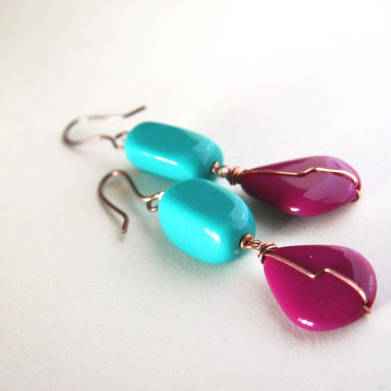 teal and plum earrings in copper  colorful 80s by nanofactory, $20.00