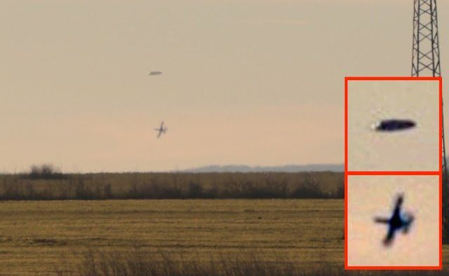 Excited UFO hunters claim to have spotted fighter jets chasing an 'alien ship' - but then deciding not to shoot. Naturally, the seasoned alien-spotters at UFO Sightings Daily claim this is proof that Earth's military know not to mess with alien craft. The incident, at Nova Zagora in Bulgaria, was shared by local site Portal12 - and shows a series of stills captured over the villages of Gaz and Zagortci.
