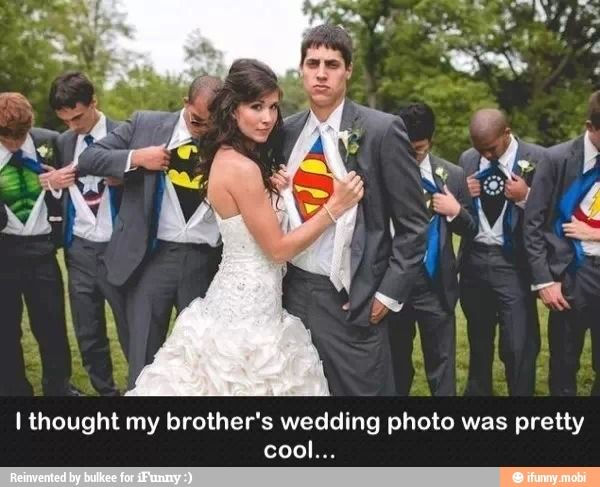 Groom and groomsmen wearing super hero shirts under their tuxes. MUST DO!