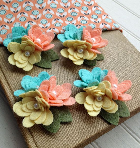 Wool Felt Fabric Flowers Mini Mum Trios by AMarketCollection