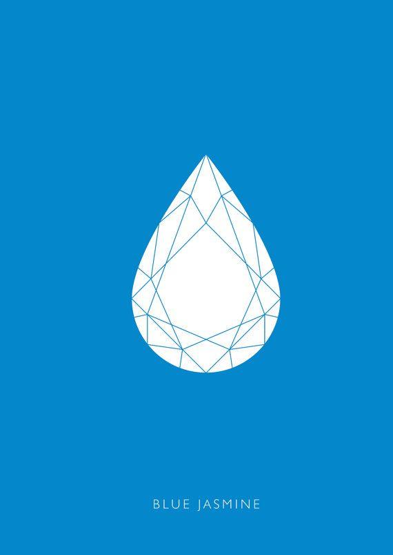 A3 minimalist movie poster Blue Jasmine Woody by KateSyskaDesign