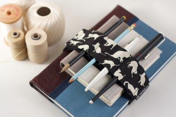 Bandoulière réglable de Velcro / / chats / / (un meilleur crayon porte-stylo journal, courroie de livre, boucle à stylo, crayon rouleau, cas, bandoulière stylo)