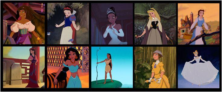 Fig.2: La plupart des héroïnes ou princesses Disney possèdent les mêmes caractéristiques physiques et comportementales. [URL: http://www.filmspourenfants.net/video/videotheoriegenre.html] (consulté le 4.8.15)
