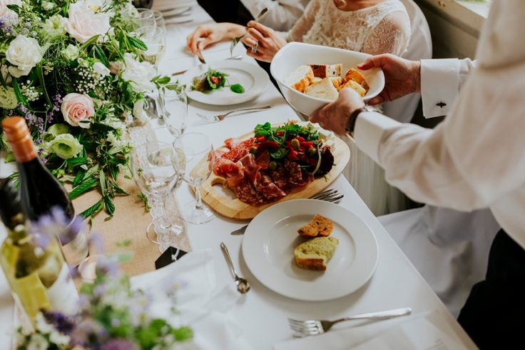 Cured meats and tapas for starters. Photo by Benjamin Stuart Photography #weddingphotography #weddingfood #tapas #curedmeat #weddingbreakfast #starters