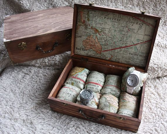 Watch Box – Men's or women's watch box. Personalized (additional fee). Travel Maps, holds eight watches. Custom location (limited).
