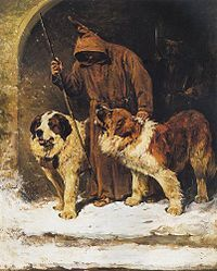 """Painting by John Emms portraying St. Bernards as rescue dogs, with the apocryphal """"brandy barrel."""""""