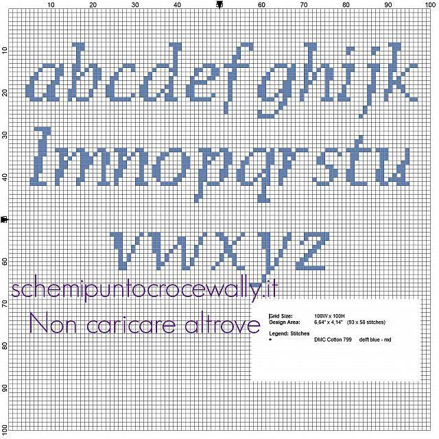 Alfabeto punto croce gratis lettere minuscole per nomi col Gatto Tom