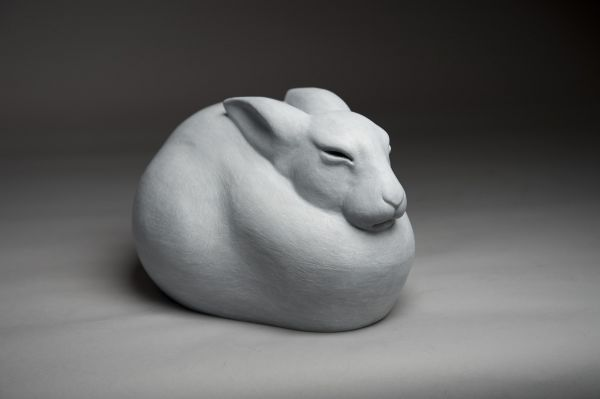 Bronze Wild Animals and Wild Life sculpture by sculptor Anthony Smith titled: 'Arctic Hare (Sitting Close Fluffed sculpture)' - Artwork View 2