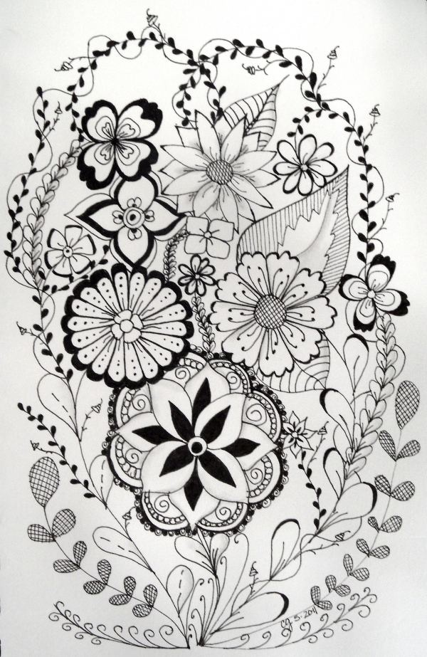 #doodles, #tangle art, #zia,   Flowery zia.
