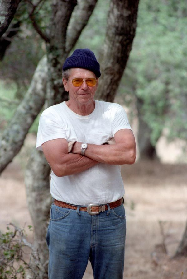 Hipster Reagan. President Reagan working at Rancho Del Cielo. 8/10/84
