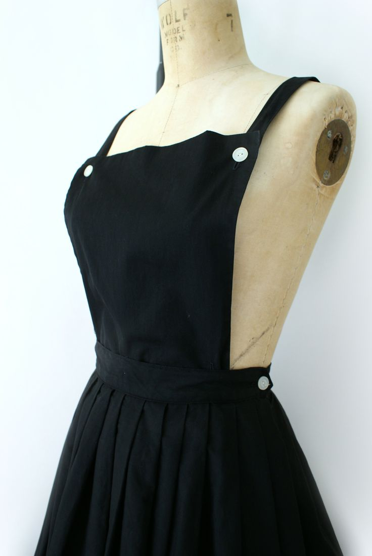 Vintage 1950s Bibbed Black Cotton Jumper and Skirt set - from sweetbeefinds