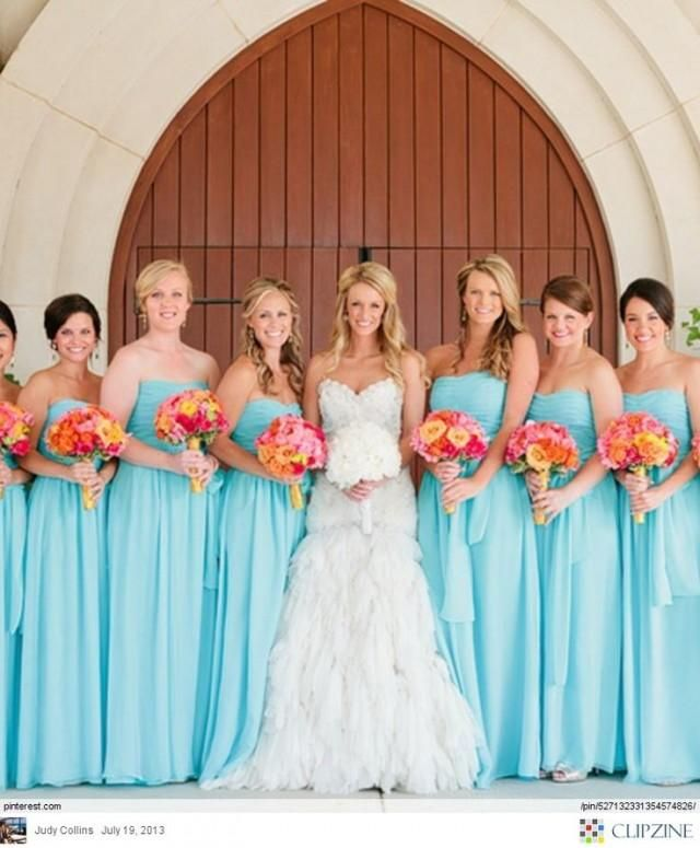 Aqua blue bridesmaid dresses Having contrasting colors like this coral and blue wedding scheme can create dramatic bridal look.