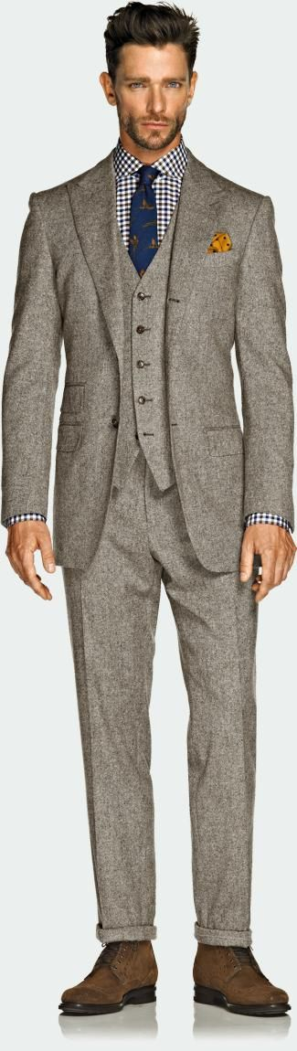 Wool 3-piece suit as part of the Fall/Winter line by Suit Supply. The tailored fit is extraordinary; this is something not often found in today's suits, which are tailored for the common man, meaning square.