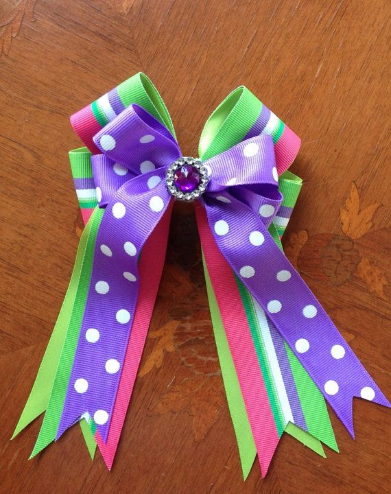Horse show bows with bling by BowdanglesShowBows on Etsy, $25.00   Click on picture for more details.