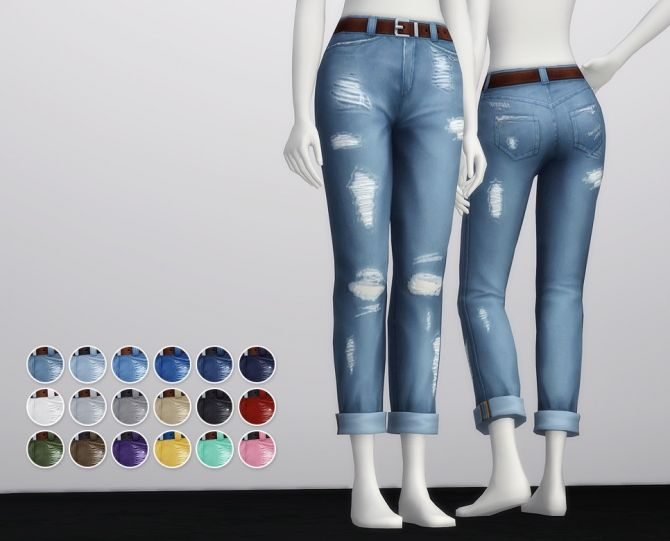 Cropped roll-up jeans F (18 colors) at Rusty Nail • Sims 4 Updates