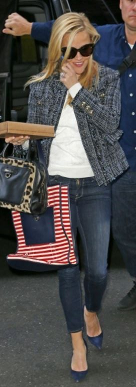 Who made Reese Witherspoon's red stripe bag, black sunglasses, animal print bag, suede pumps, and jacket?