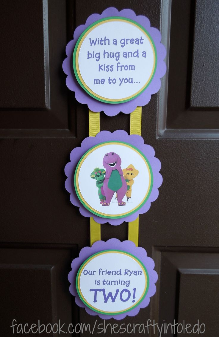 Barney Birthday made by She's Crafty shescraftyshop.com facebook.com/shescraftyintoledo