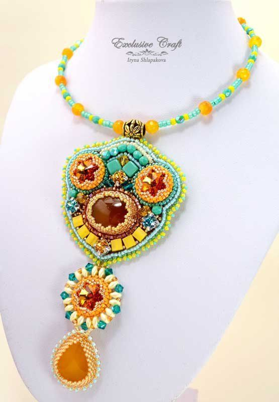 """Summery and sunny bead embroidered Necklace """"Honey Tea"""" made with Honey Onyx cabochons, Swarovski crystals, Czech glass beads and Japanese seed beads. The handmade necklace has genuine leather backing"""