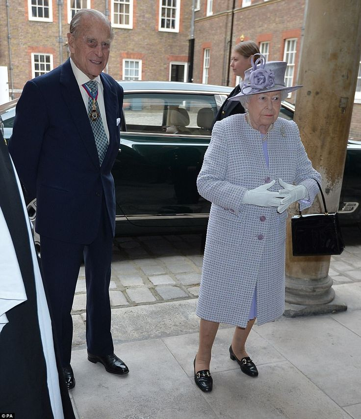 Back to work: Prince Philip and the Queen arrive at St James's Palace, London, for an Order of Merit service today shortly after announcing his own retirement today