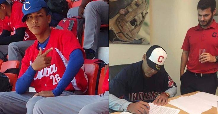 Joven lanzador cubano firma contrato con los Indios de Cleveland #Deporte #contrato #GrandesLigas #IndiosdeCleveland #lanzadorcubano