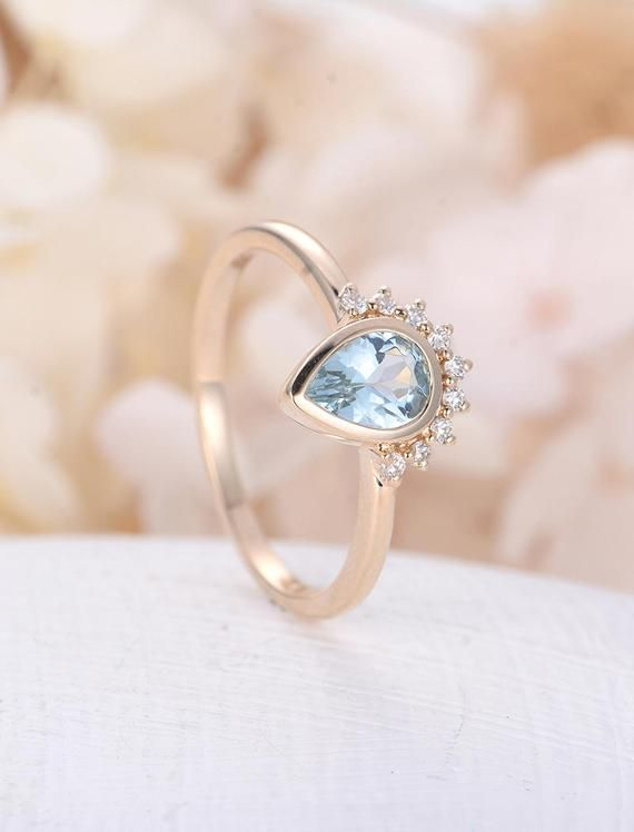 5c3e685a08a85 Pear shaped Aquamarine engagement ring rose gold Unique diamond ...