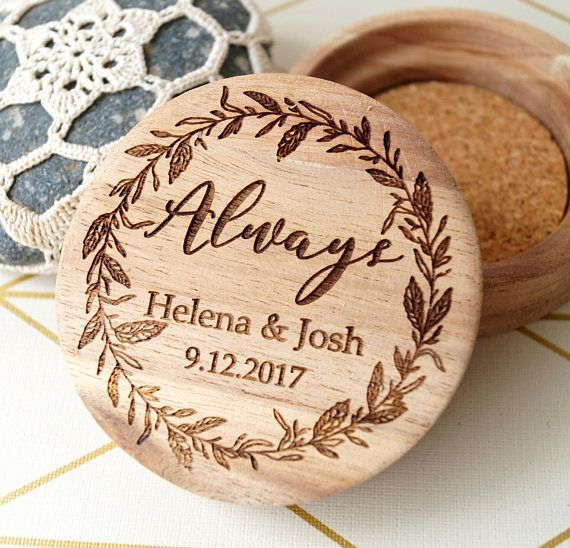 Personalized wedding ring box - wooden ring box - rustic ring holder - wedding ring bearer box - custom engraved ring box - acacia ring box. Size: 2 3/4 in diameter Material: acacia wood Cork inlay inside. This rustic ring bearer box will be personalized for you, so please do not