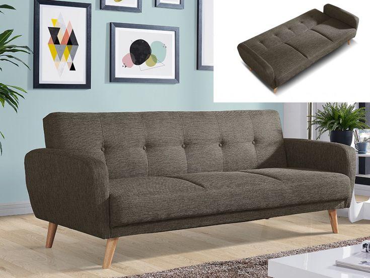 Sofá cama 3 plazas tela 100% poliéster marrón topo MAELO