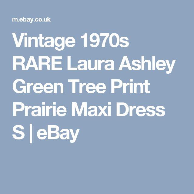 Vintage 1970s RARE Laura Ashley Green Tree Print Prairie Maxi Dress S | eBay