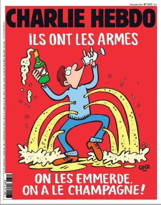 """la copertina del prossimo numero di Charlie Hebdo. """"Loro hanno le armi, si fottano, noi abbiamo lo champagne"""""""