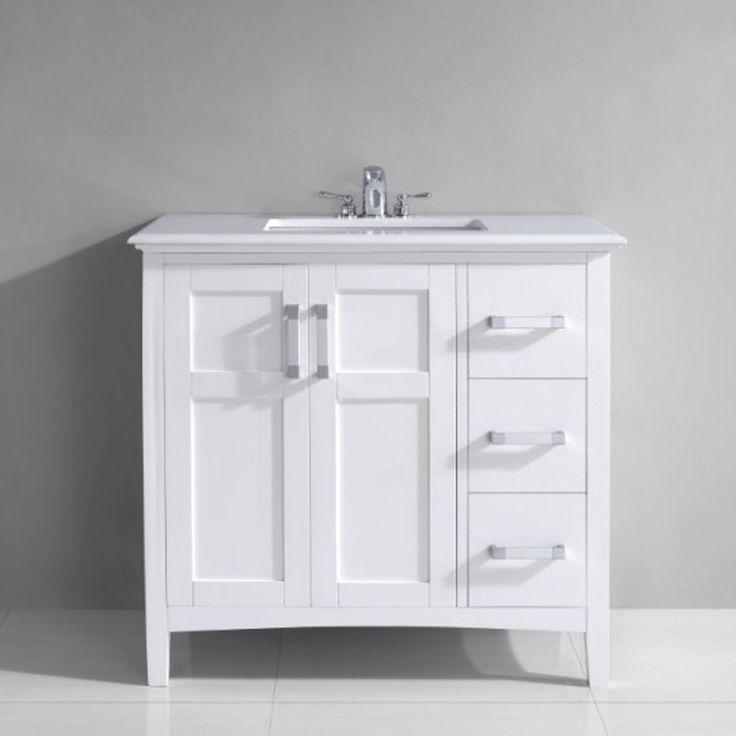 Photos On  uSalem u inch White Marble Top Single Sink Bathroom Vanity Overstock