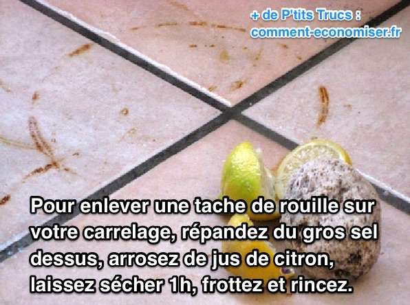 Voici une astuce toute simple pour enlever la rouille incrustée sur un carrelage. Il s'agit d'utiliser du citron et du sel.  Découvrez l'astuce ici : http://www.comment-economiser.fr/comment-enlever-tache-rouille-carrelage.html?utm_content=bufferb1aaf&utm_medium=social&utm_source=pinterest.com&utm_campaign=buffer