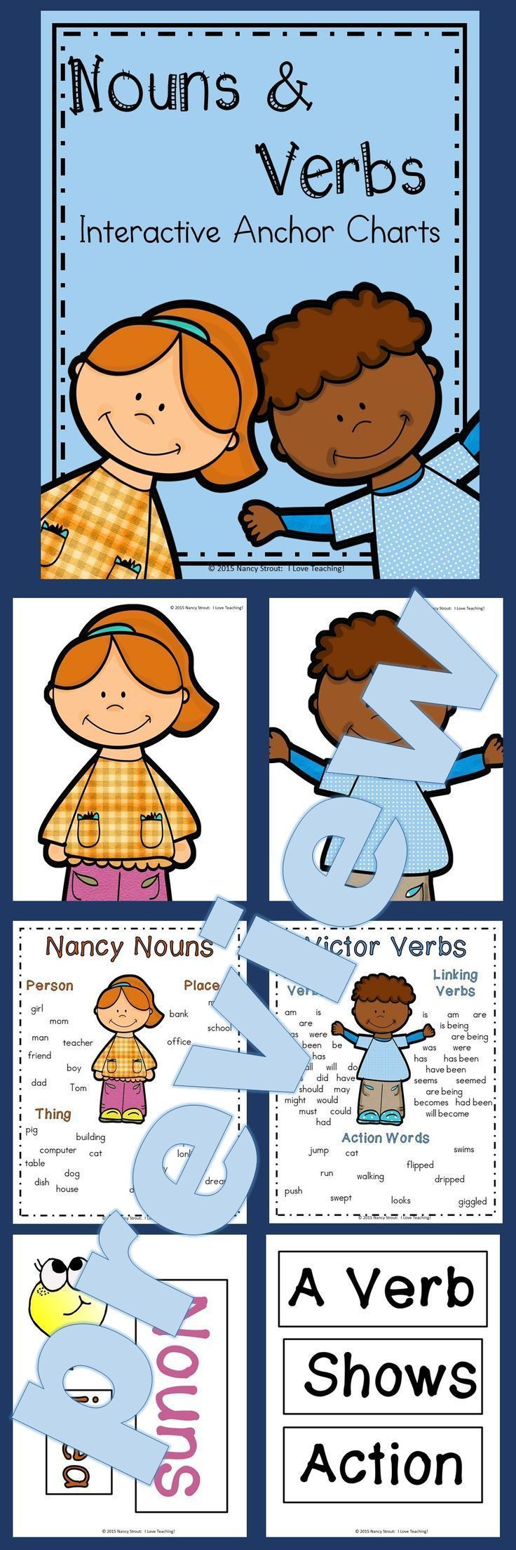 Nouns and Verbs: Interactive Anchor Charts are a great way to introduce and teach nouns and verbs. These anchor charts are all made for you. All you will need to do is print, laminate and cut out. Then grab some Post It notes and you have everything you n