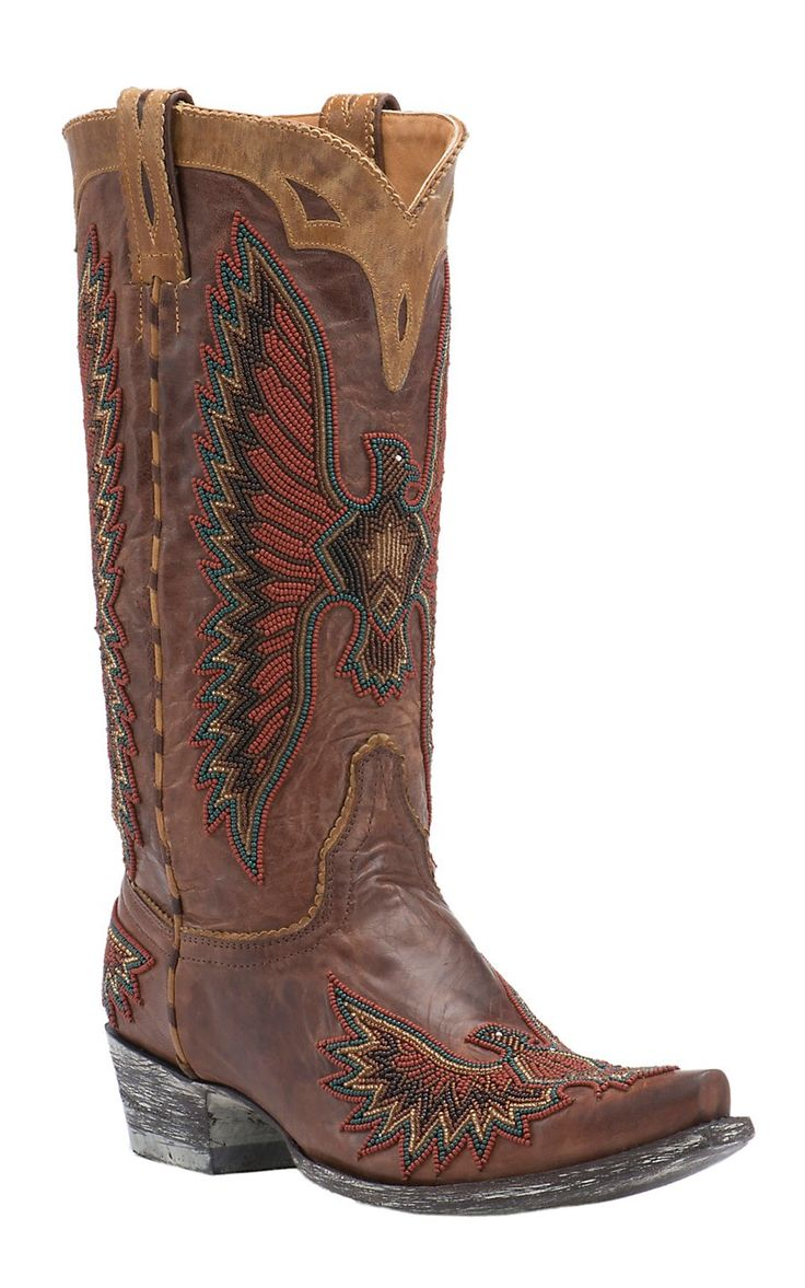 Old Gringo® Vintage Brass Beaded Eagle Snip Toe Western Boots