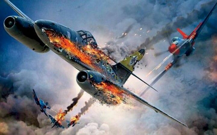 Tuskegee Airmen Red Tail P-51 Mustangs take on the ME-262