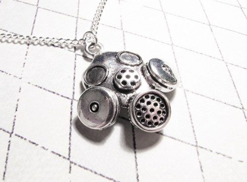 Gas Mask Necklace, new style Silver Apocalypse Steampunk Sci Fi Horror