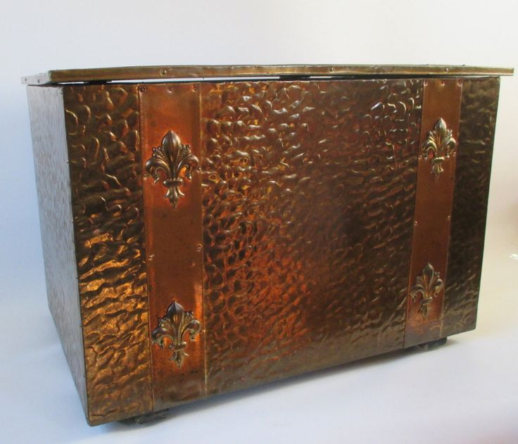 Brass Box, Vintage, Metal Covered, Fleur de Lis, Decorative Storage Trunk, Treasure Chest Textured Hammered Finish Medieval European Decor by HobbitHouse on Etsy https://www.etsy.com/listing/496248462/brass-box-vintage-metal-covered-fleur-de