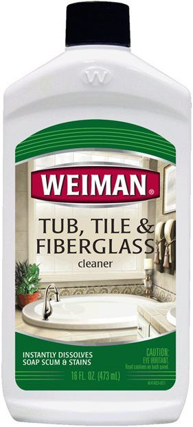 Weiman Tub, Tile & Fiberglass Cleaner - tackles even the toughest heavy-duty stains, soap scum, hard water spots, & lime deposits w/o scratches.  Instantly removes tough stains w/o hard scrubbing. Non-abrasive formula restores natural color & texture, rinses easily & leaves s & fiberglass sparkling clean.  Recommended for: Most bathroom surfaces including ceramic, porcelain, fiberglass, tile, tubs, spas, showers, vanities, sinks, shower doors & pools. Also excellent for fiberglass RVs…