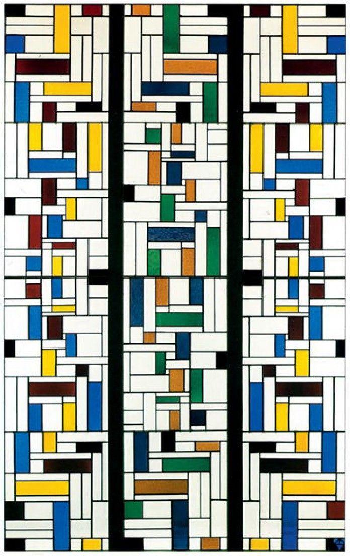 Theo van Doesburg, Glas-in-loodcompositie IV voor Huis De Lange, Alkmaar, 1917, glas in lood in drie delen, 286.5 x 56.6 cm per stuk, Kröller-Müller Museum, Otterlo http://www.artsalonholland.nl/abstracte-moderne-kunst/theo-van-doesburg-glas-in-loodcompositie