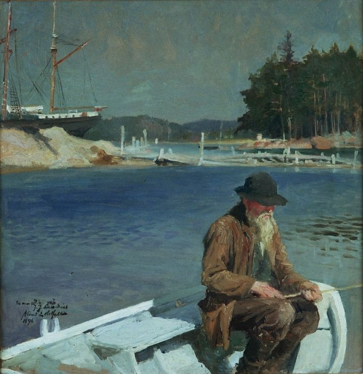 Albert Edelfelt, Kalastava ukko, 1896, öljymaalaus. Albert Edelfeltin säätiö