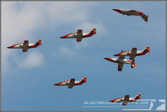 CASA C-101 trainer Aviojets of the Spanish Air Force display team Patrulla Aguila.