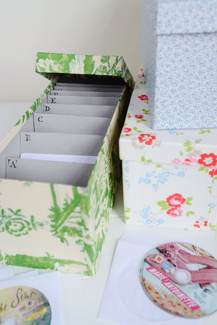 Great storage idea: Wallpapered DVD or CD Storage Boxes — Yvestown
