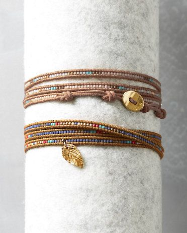 Chan Luu's coveted wrap factor gets a charmed makeover with a single 14K gold vermeil leaf and matte seed beads.