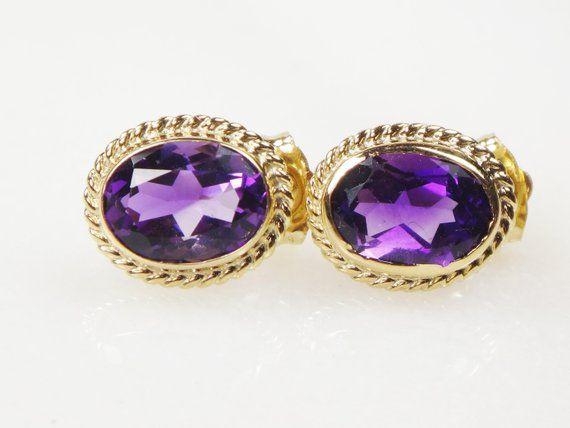 a9c2d39ed Vintage 14k Amethyst Earrings Oval Amethyst Stud Earrings Genuine Amethyst  Earrings February Birthstone 14k Yellow Gold Earrings - Free Ship