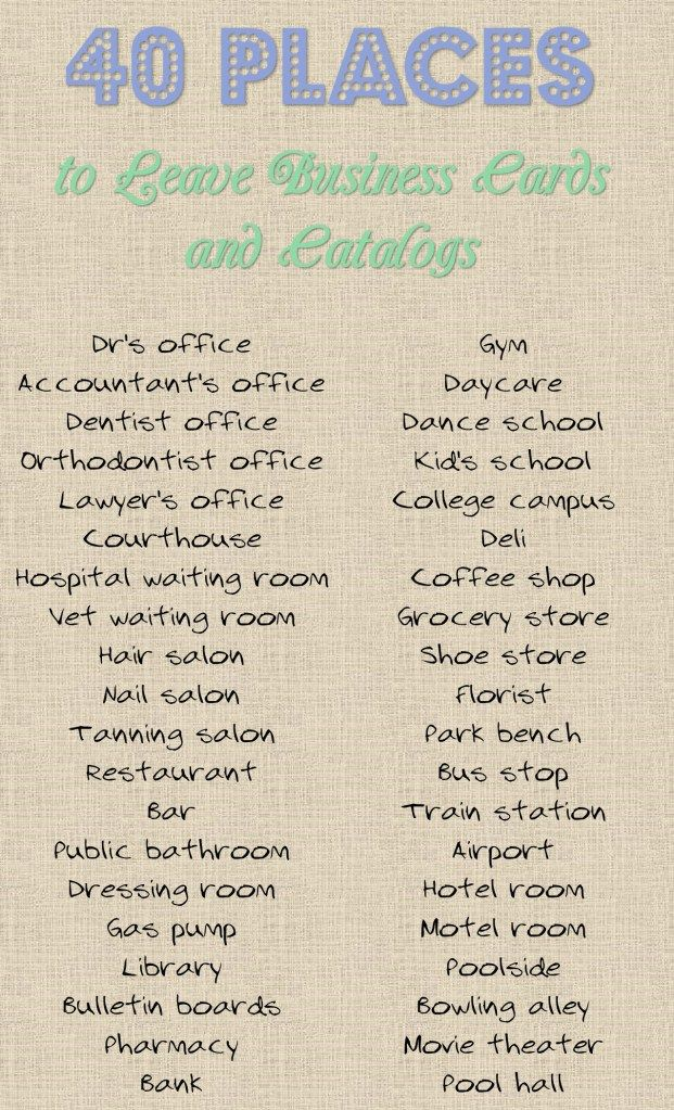 40 Places To Leave Your Business Card Or Catalog