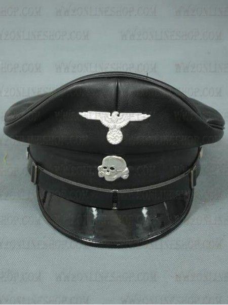 Replica Of Allgemeine Ss Officer Black Visor Cap Fake
