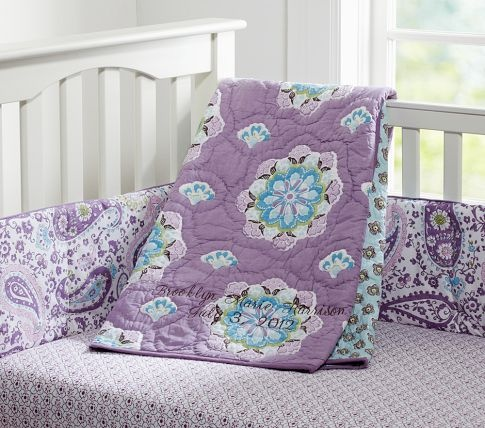 Brooklyn Nursery Bedding | Pottery Barn Kids - I like the purple and blue color combo