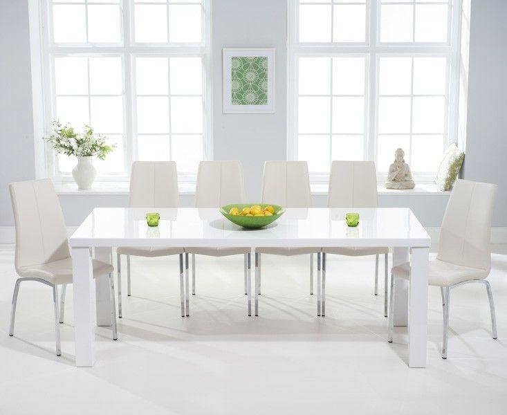Mark Harris Ava White High Gloss 200cm Dining Set 6 Carsen Ivory