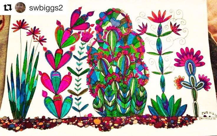 """Mental Images Coloring Books (@paivivesala_art) on Instagram: """"I love the color combinations by @swbiggs2 💖💚💙 Coloring book: Mental Images vol 1"""""""