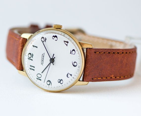 Classic men's watch Rocket, gold plated gent's watch, shockproof men watch, dress watch, minimalist watch, premium leather strap new