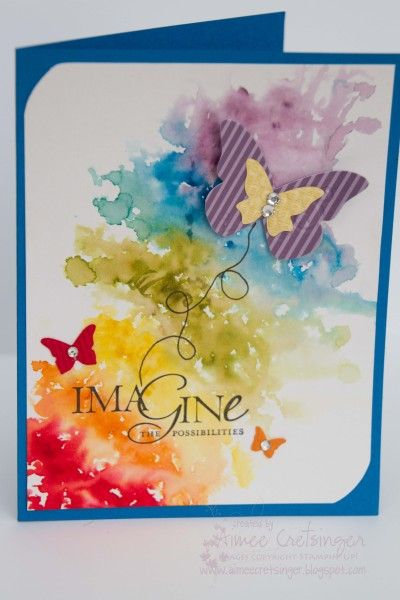 Butterfly watercolor background | reinkers and Aqua Painters on Shimmery White card stock to create this whimsical card.